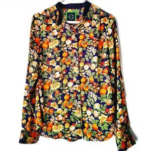C Wonder Long Sleeve Floral & Fruit Print Shirt XS